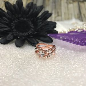 Crystal Twist Cubic Rings Rose Gold 2ct Zirconia 9